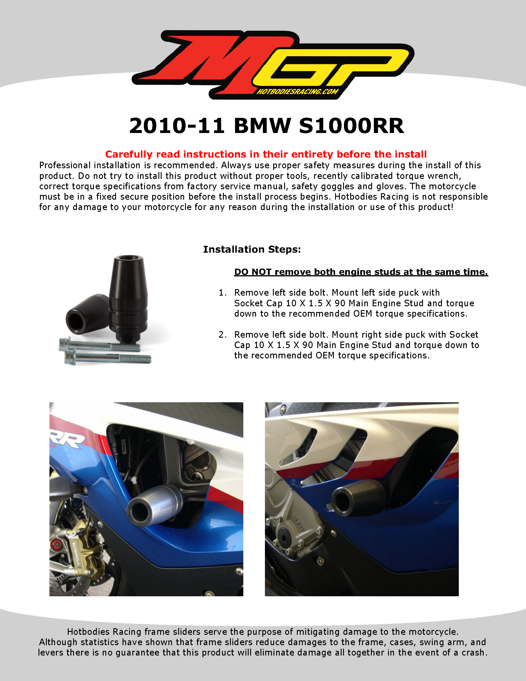 S1000RR 2010-11 NO CUT Frame Sliders