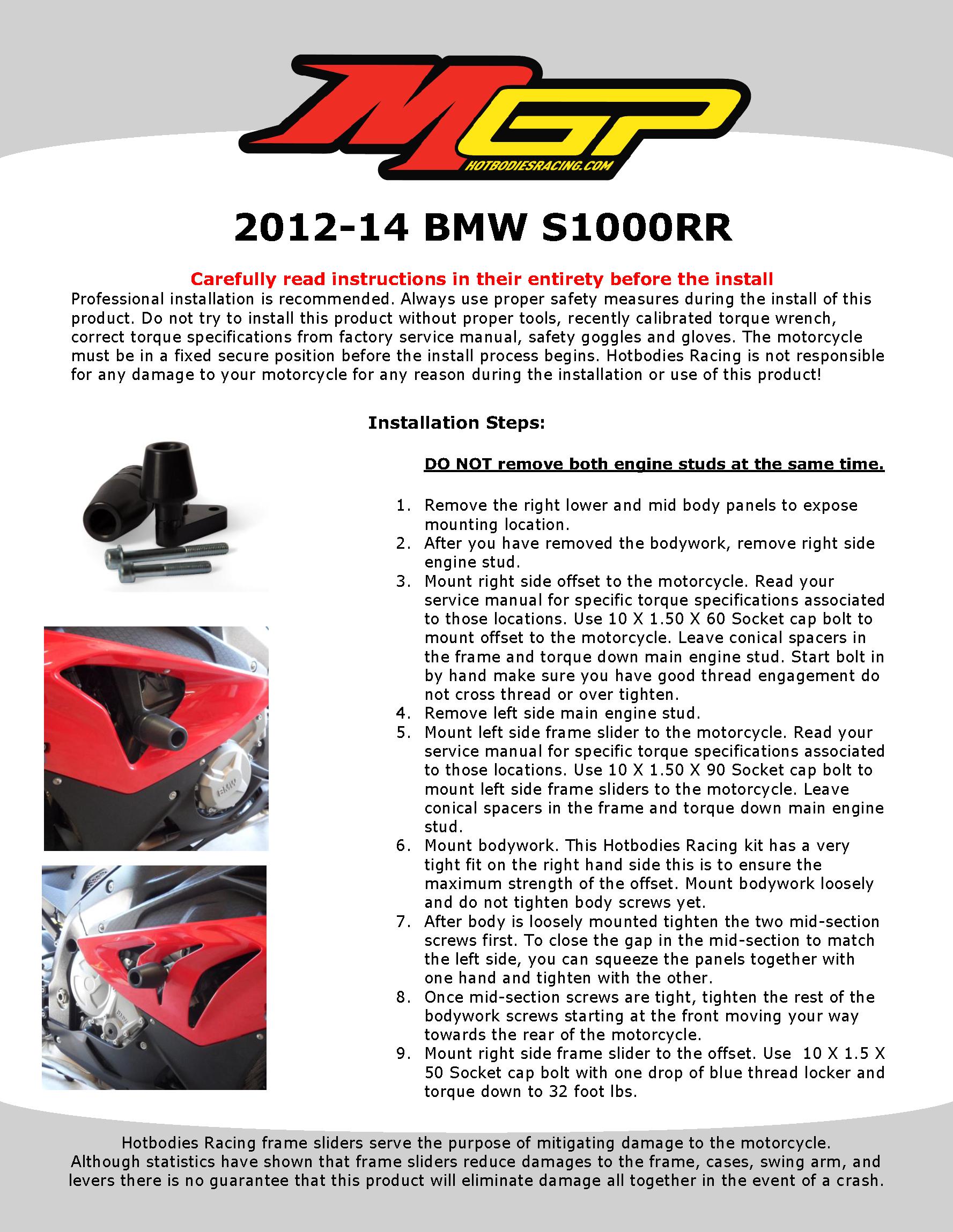 S1000RR 2012-14 NO CUT Frame Sliders