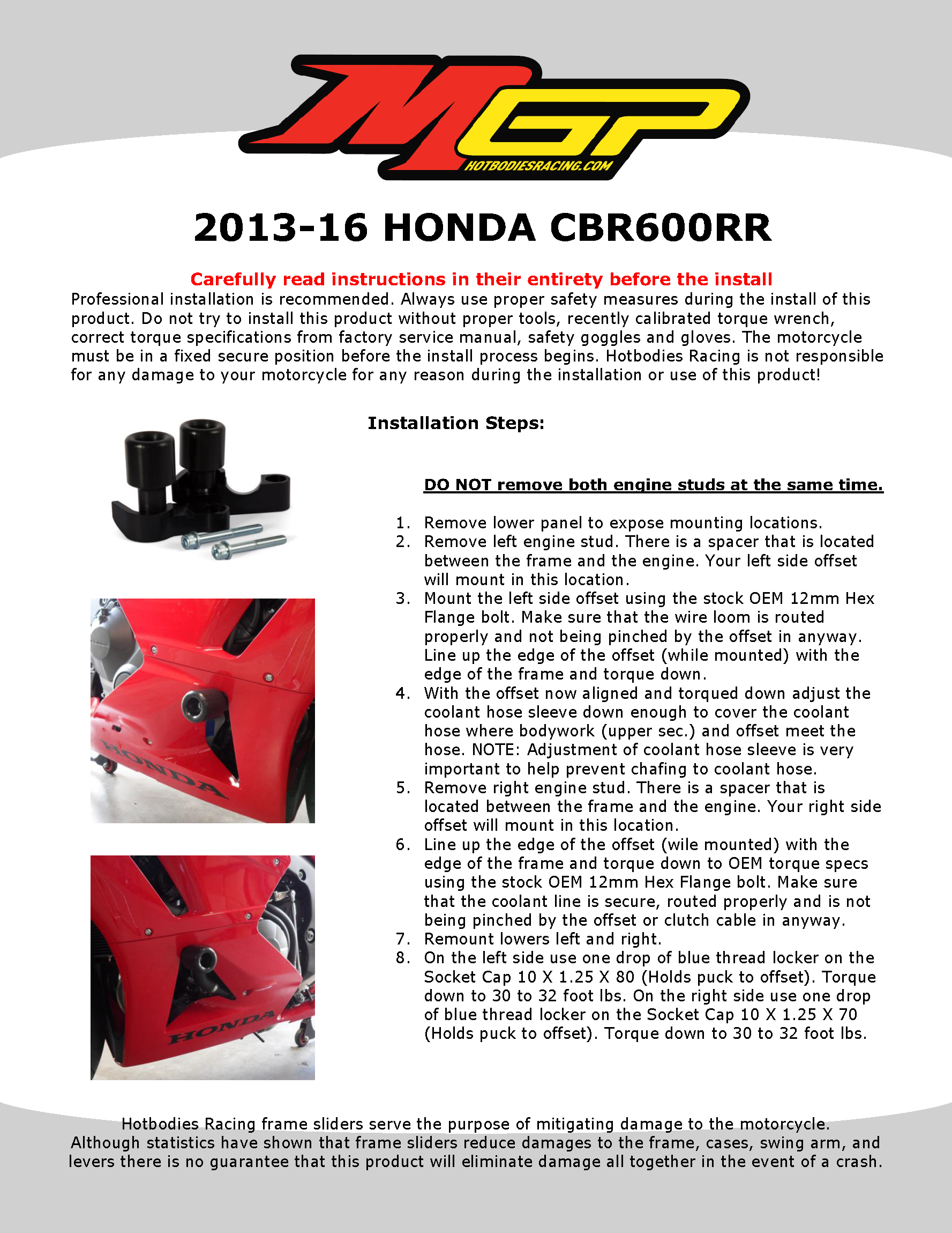CBR600RR 2013-16 Frame Sliders No Cut