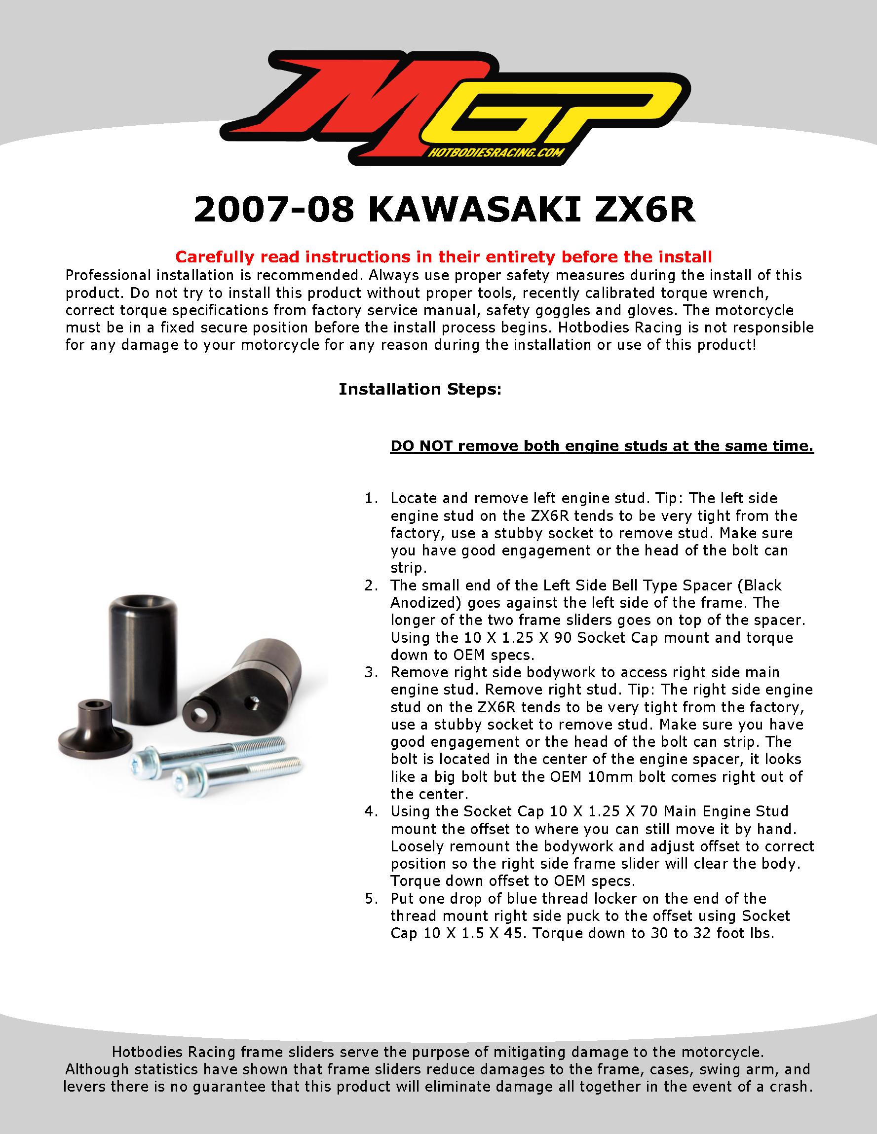 ZX6R 2007-08 Frame Sliders