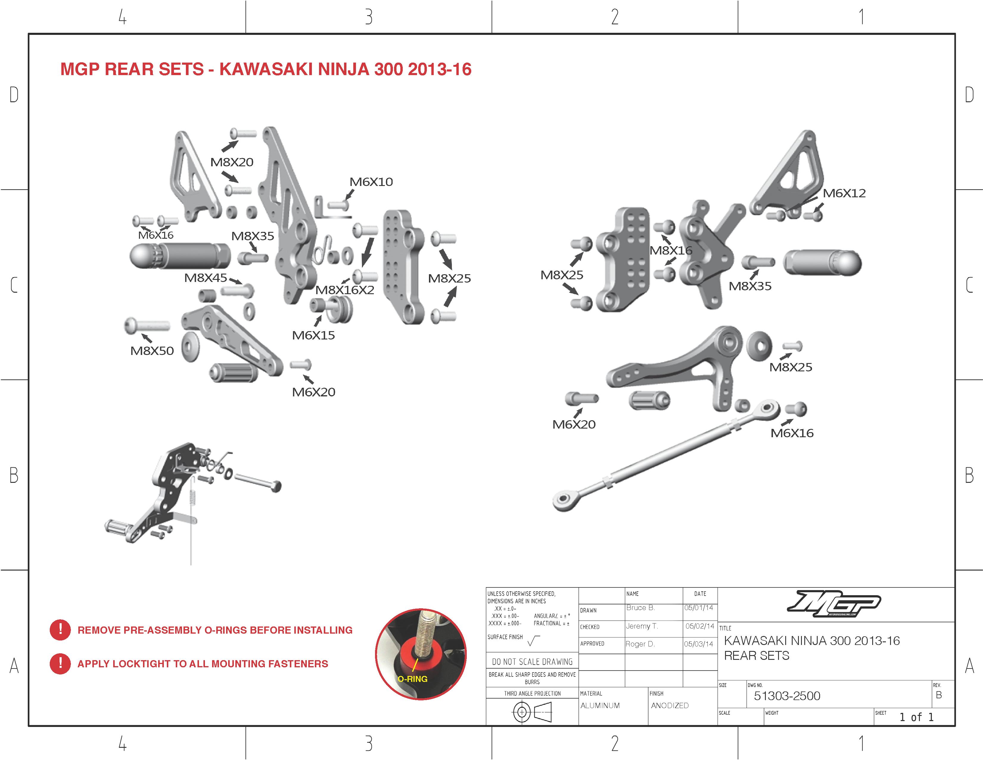 Ninja 250R / 300R 2008-2016 MGP Rearsets Installation